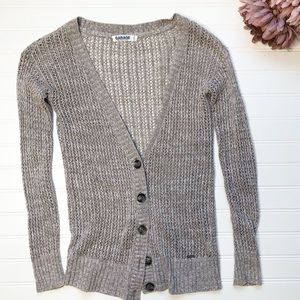 GARAGE Marled Grey/Beige button down cardigan-XS